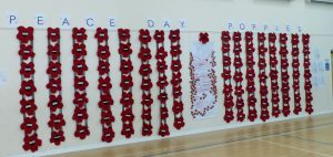 Display of 112 rosettes produced by local school children for each of the local soldiers killed in the First World War.